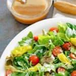 salad and homemade Italian salad dressing