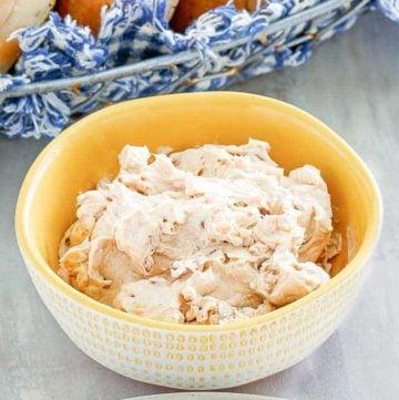 a bowl of homemade Panera honey walnut cream cheese