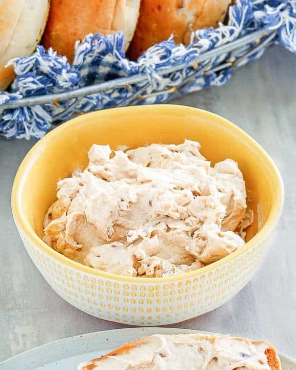 a bowl of homemade Panera honey walnut cream cheese