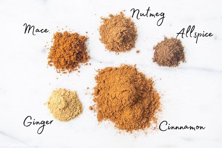 cinnamon, ginger, mace, nutmeg, and allspice spices