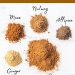 ingredients for homemade pumpkin pie spice mix