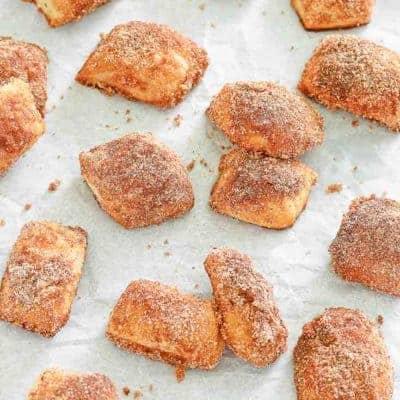 homemade cinnamon sugar pretzel bites on parchment paper