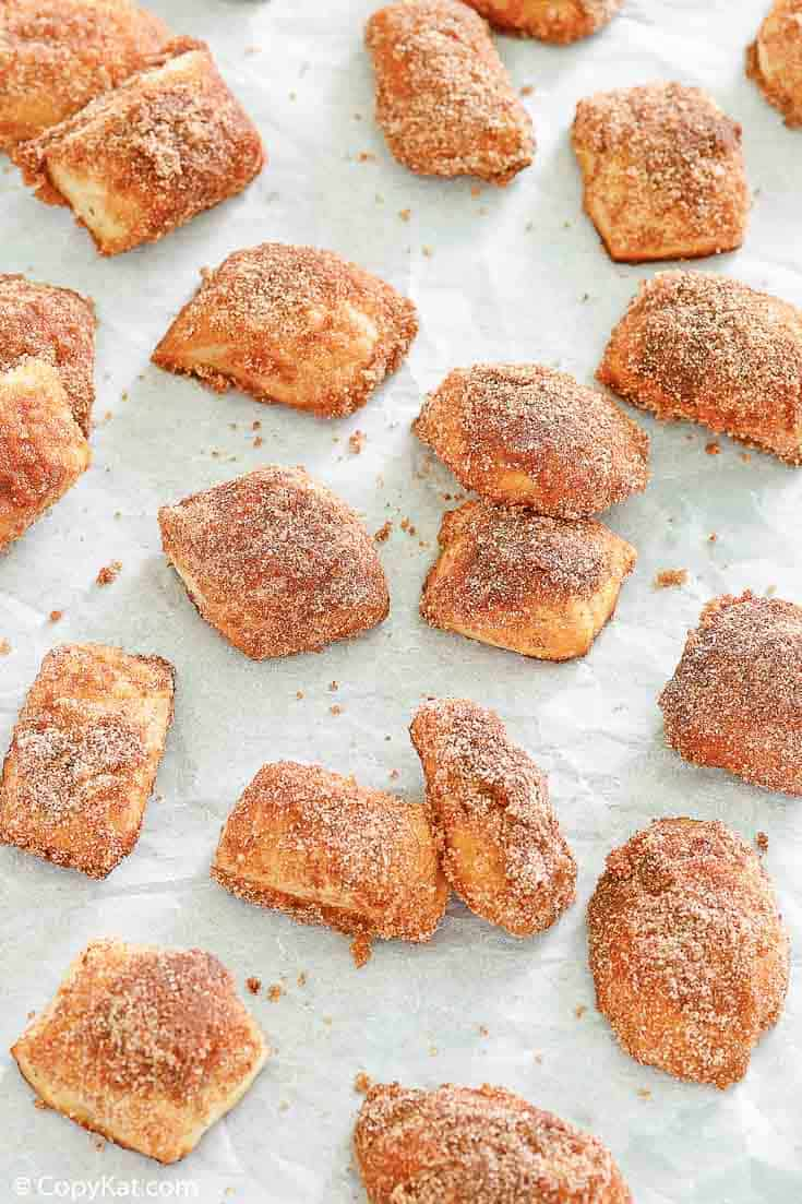 homemade cinnamon sugar pretzel bites on parchment paper