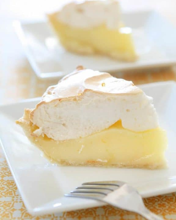 Two slices of lemon meringue pie