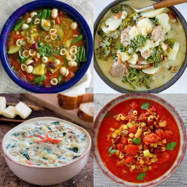 photo collage of four Olive Garden soups