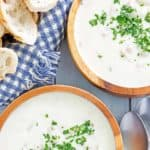 two bowls of clam chowder