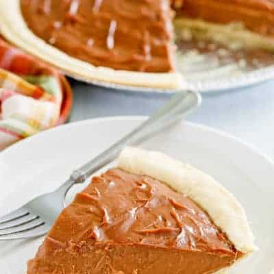 a slice of chocolate cream pie and a fork on a plate
