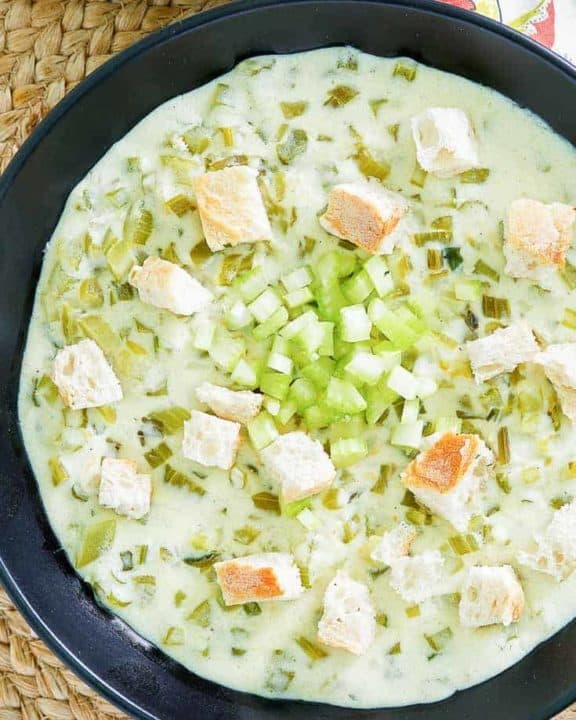 a bowl of chunky cream of celery soup