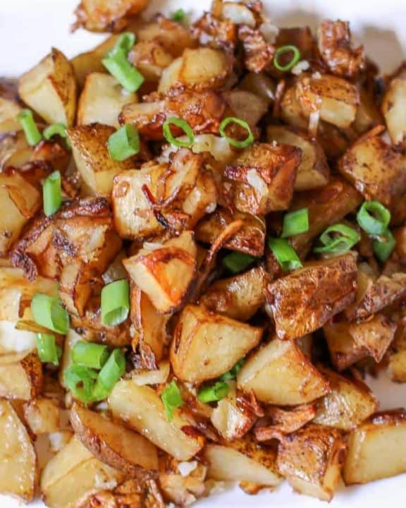 oven roasted potatoes on a platter