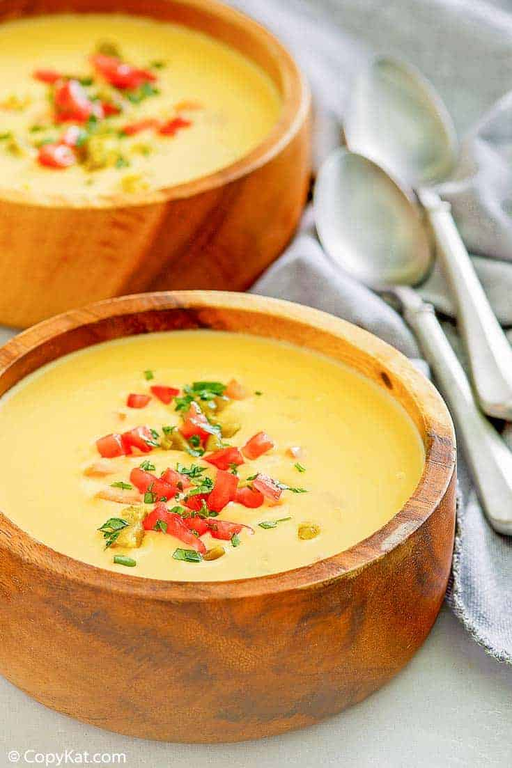 two bowls of Canadian cheese soup