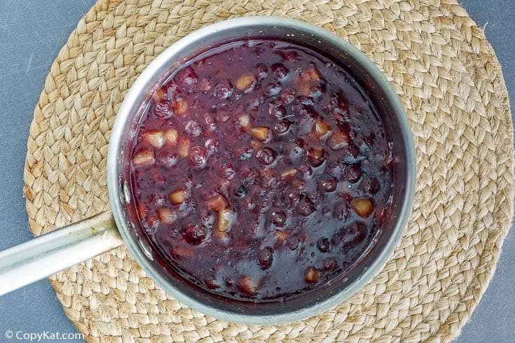 blueberry pie filling in a pan