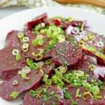 marinated beet salad on a platter