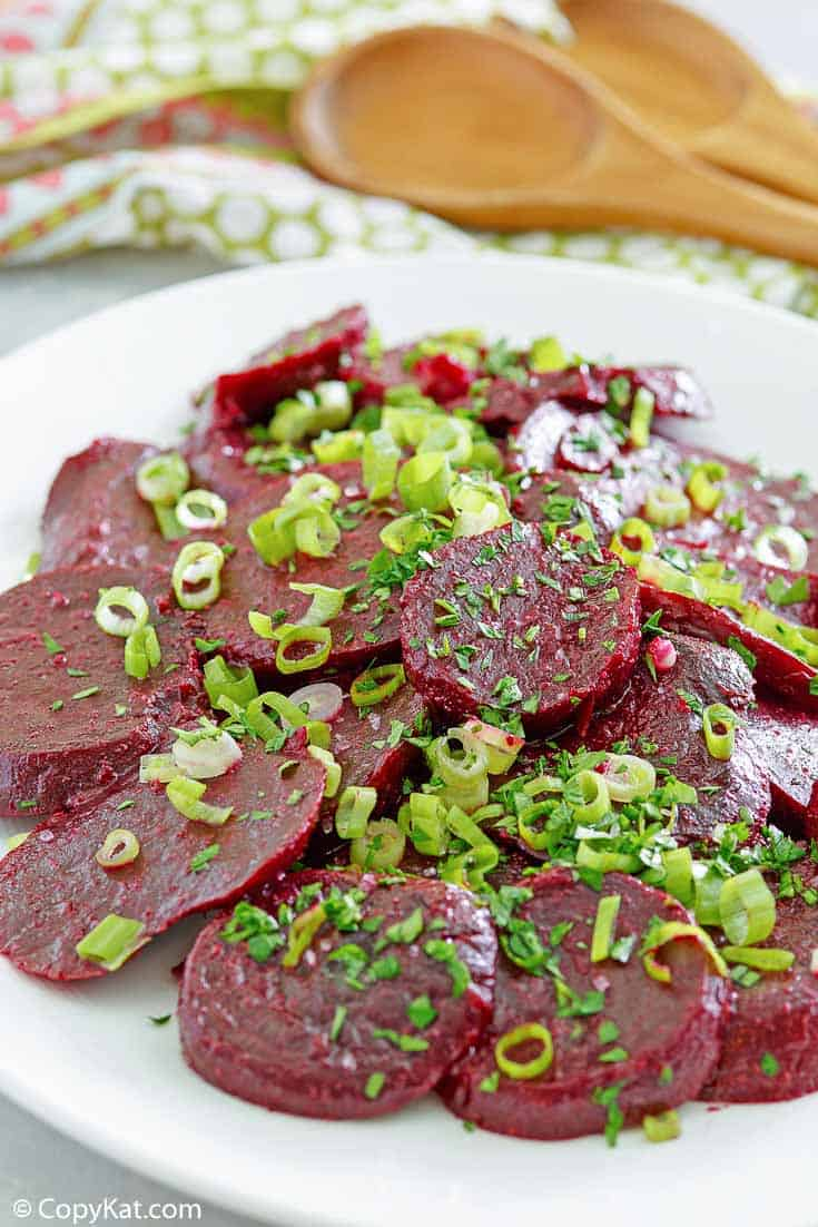 marinated beet salad on a platter