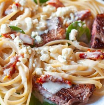 Steak Gorgonzola Alfredo Pasta on a plate