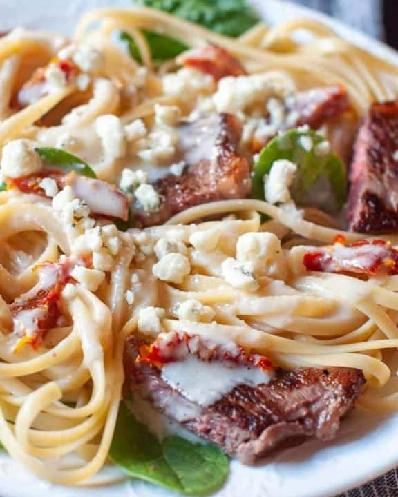 Steak Gorgonzola Alfredo Pasta on a plate
