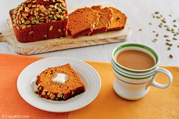 homemade Starbucks pumpkin bread and a cup of coffee