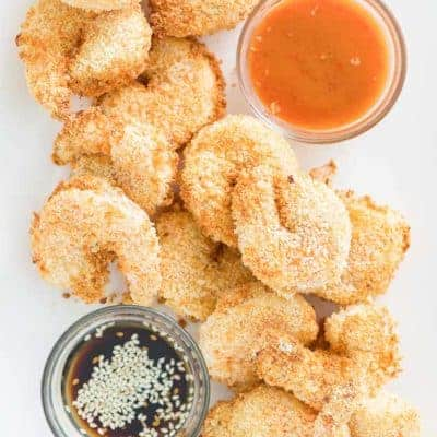 overhead view of air fryer shrimp tempura and dipping sauces