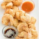 air fryer shrimp tempura on a platter with dipping sauces