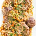 beef shanks with chopped vegetables