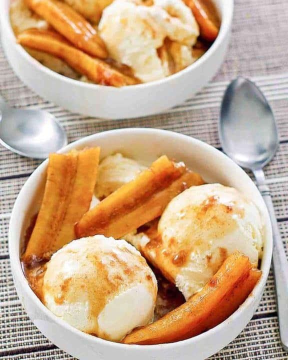 two bowls of homemade Brennan's bananas foster dessert