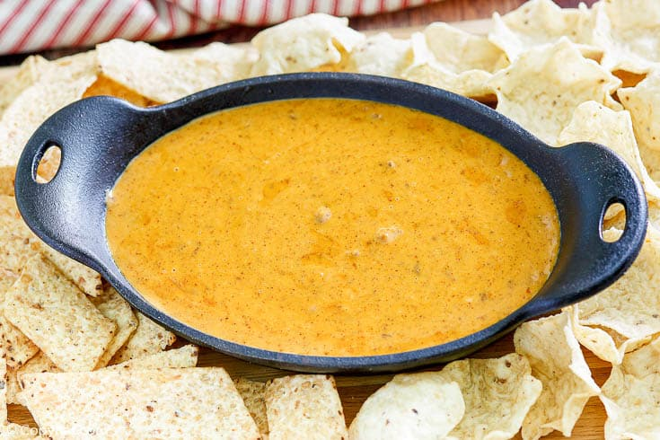 homemade Chili's skillet queso with tortilla chips