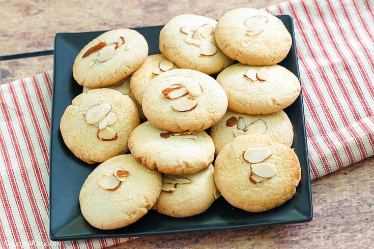 Chinese almond cookies on a square platter