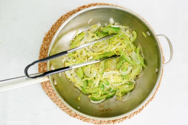cabbage mix for chow mein in a mixing bowl
