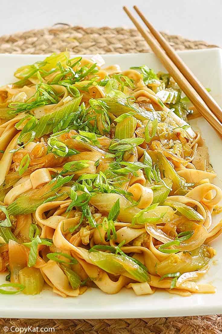 homemade Panda Express Chow Mein on a platter