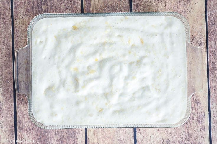 pineapple angel food cake batter in a baking dish