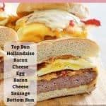 Homemade Wendy's Breakfast Baconator Sandwich with text overlay of ingredients
