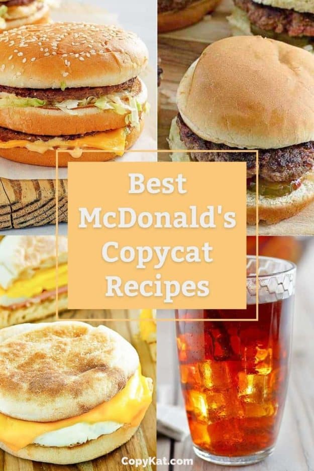 photo collage of homemade McDonald's Big Mac, Hamburger, Egg McMuffin, and Sweet Tea