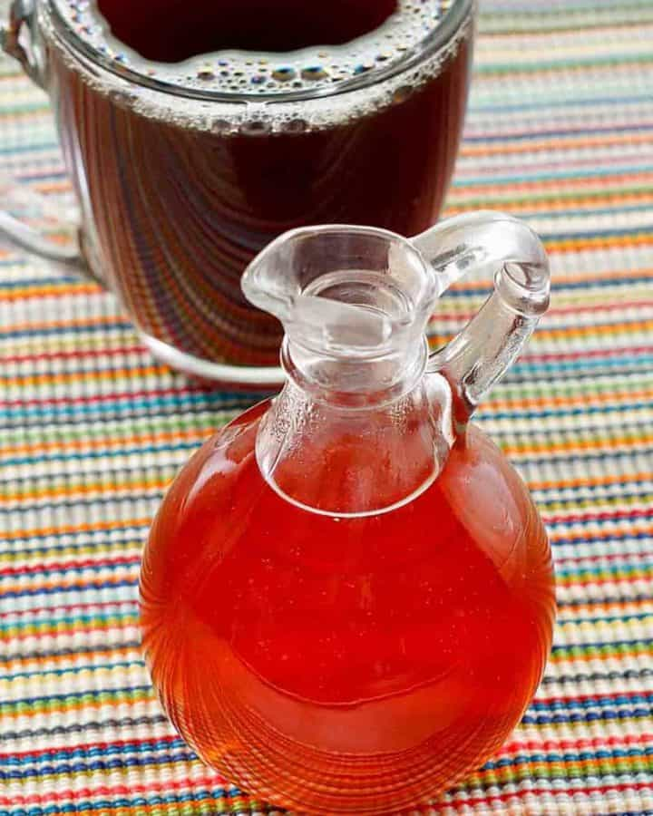 homemade caramel syrup and a cup of coffee