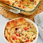 chicken pot pie in a bowl and baking dish