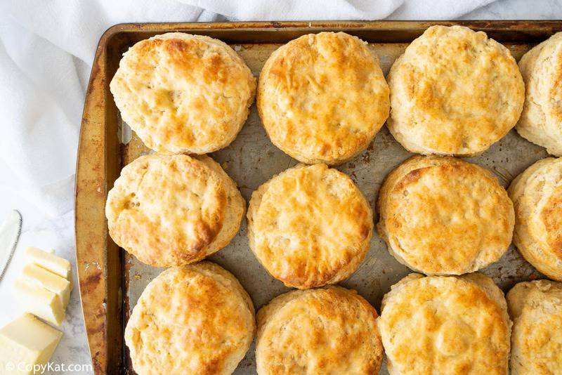 honey biscuits on a baking sheet