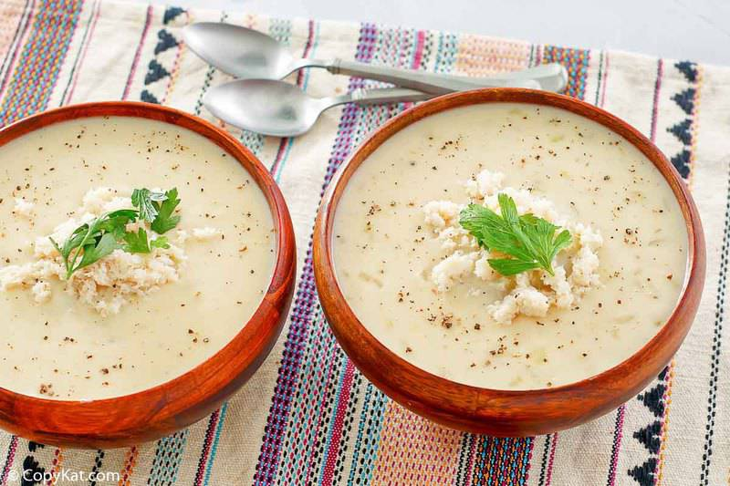 two bowls of homemade crab bisque
