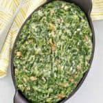 overhead view of homemade Lawry's creamed spinach in a serving dish