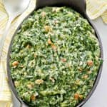 homemade Lawry's creamed spinach in a serving dish