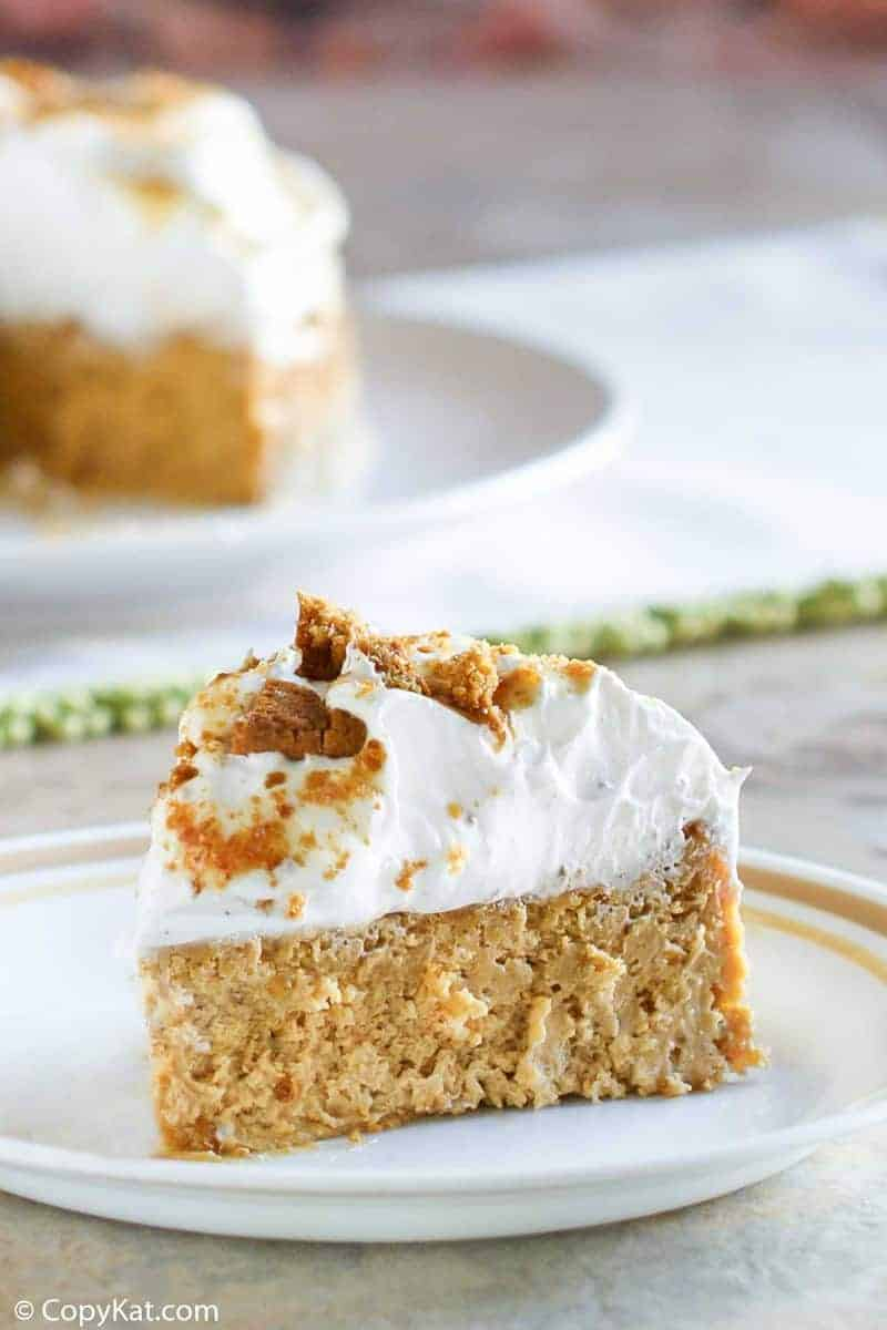 a slice of homemade Olive Garden Pumpkin Cheesecake
