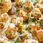 Homemade Olive Garden stuffed mushrooms on a platter