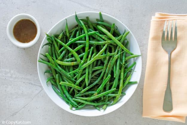 a bowl of homemade Outback Steakhouse green beans