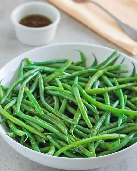 a bowl of homemade Outback green beans