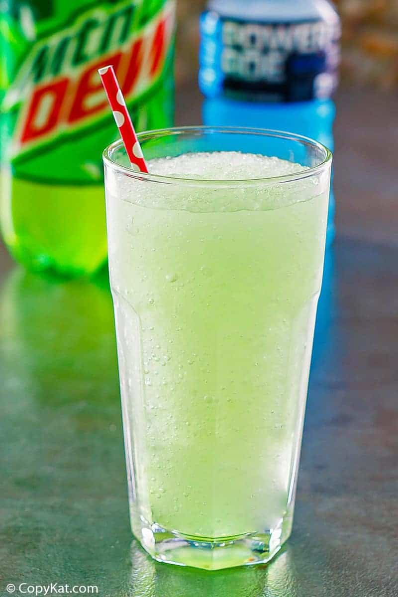 homemade Taco Bell Baja Blast Freeze drink in a glass