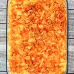 cheese hashbrown casserole in a baking dish