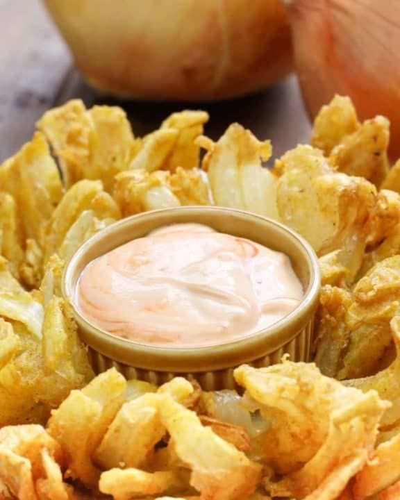 Homemade Chili's Awesome Blossom Dipping Sauce and a blooming onion