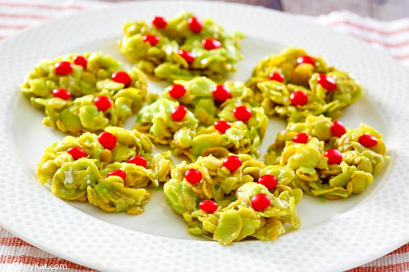 cornflake Christmas wreaths on a plate