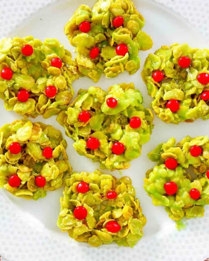 Christmas cornflake wreaths on a plate