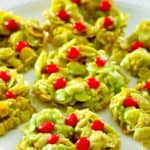 cornflake wreaths with red hots candy