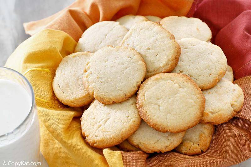 overhead view of a cream cheese cookies in a basket