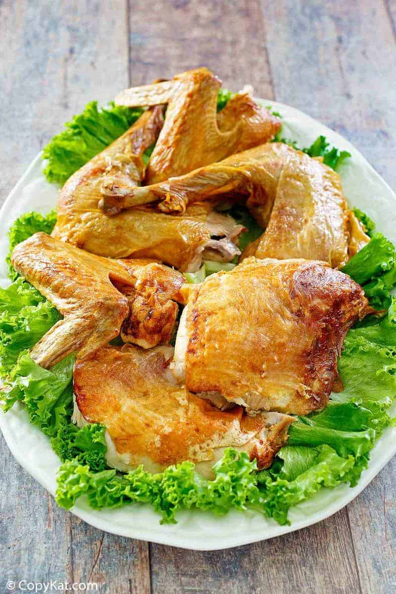 Deep fried turkey on a platter