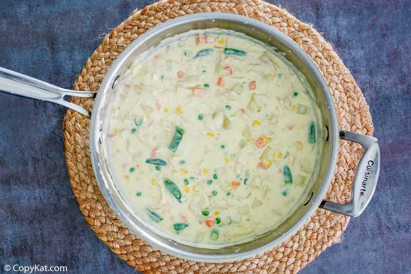 homemade Jason's Deli chicken pot pie soup in a pan
